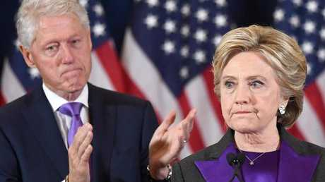 US Democratic presidential candidate Hillary Clinton makes a concession speech after being defeated by Republican President-elect Donald Trump, as former President Bill Clinton looks on in New York on November 9, 2016. Picture: AFP/ Jewel Samad.