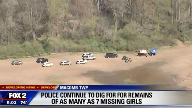 An aerial view of the woods police are searching for girls aged between 12 and 17 who went missing in the 1970s and 1980s. Picture: Fox 2.