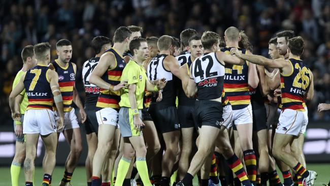 Tempers flare at three-quarter time of Saturday's Showdown. Picture: Sarah Reed