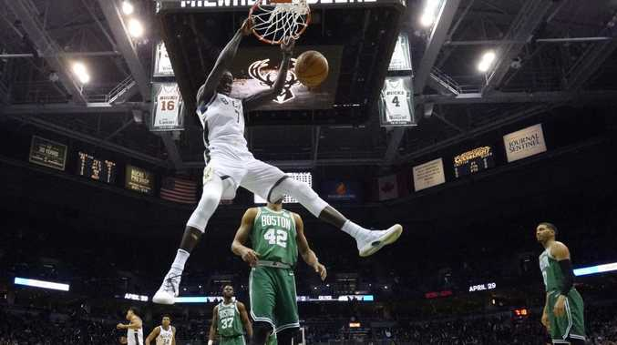 The Milwaukee Bucks' Thon Maker dunks during the NBA Playoffs. Picture: Morry Gash/AP