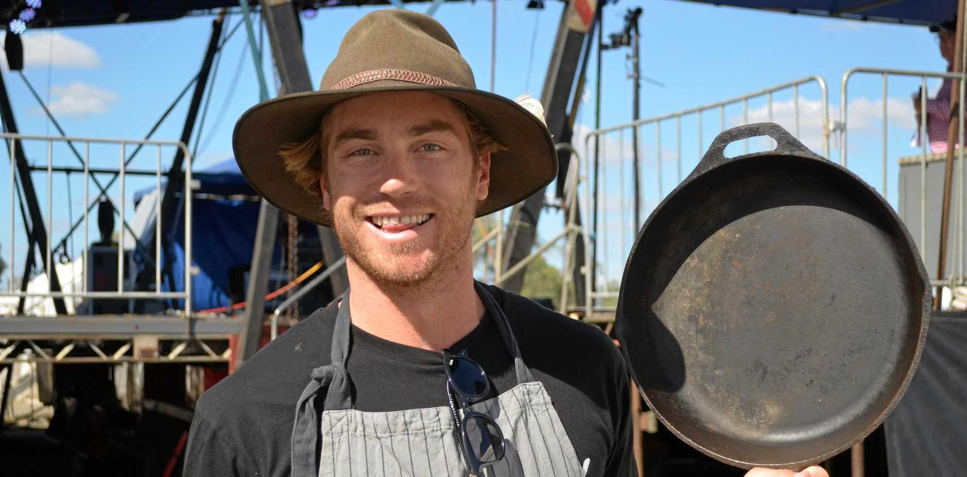 CELEBRITY CHEF: MasterChef winner, Hayden Quinn was on hand to offer cooking tips at Big Skies 2018.