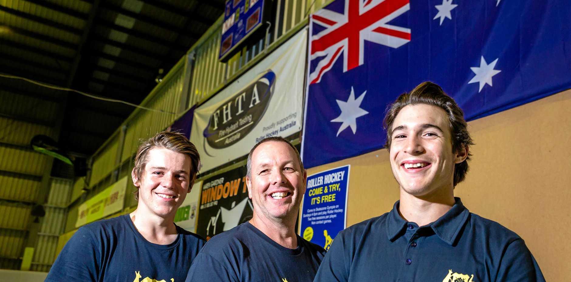 Roller Hockey Gympie Players Representing Australia - Kadin Hewitt U17, Darren Nyberg Veterans Men, Hayden Gerlick U17