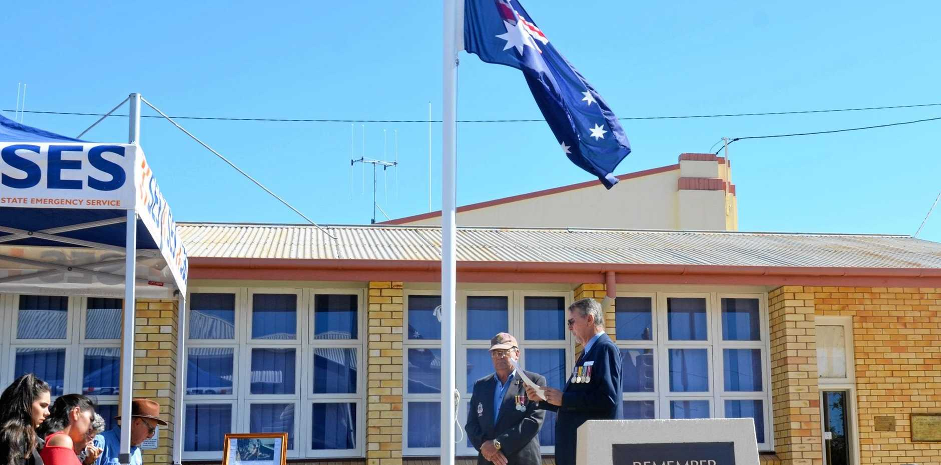 Craig Fothergill and Merv Thompson address Gayndah to commemorate 50 years since the Vietnam War Battles of Coral & Balmoral.