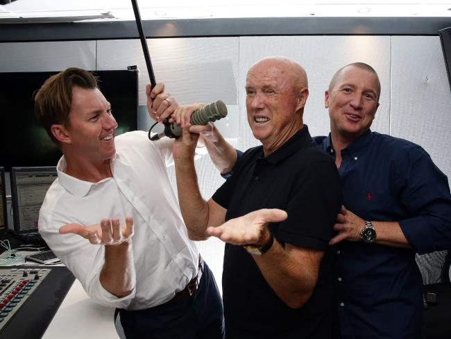 Kerry O'Keeffe (C) did commentary for Triple M last year with Brett Lee (L) and Brad Haddin.