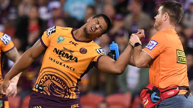 Payne Haas suffered a shoulder dislocation in the loss to the Sea Eagles.