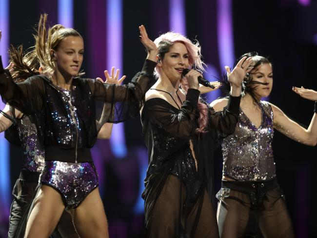 Lea Sirk from Slovenia performs the song  in Lisbon, Portugal. Picture: AP