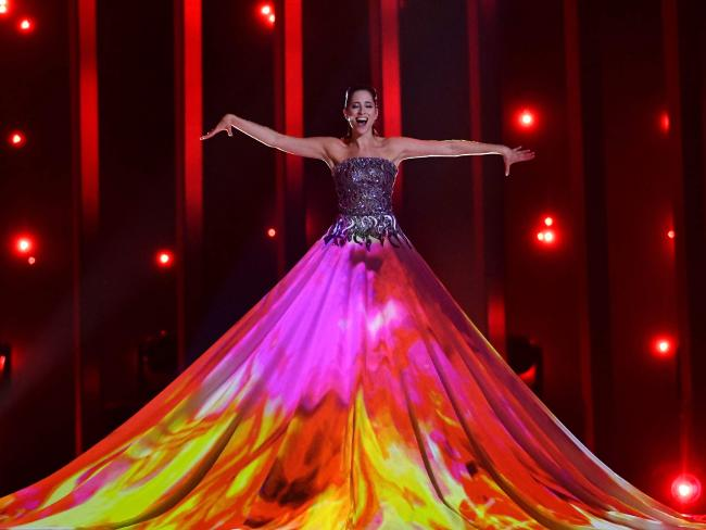 Estonia's singer Elina Nechayeva performs the song La Forza during the first semifinal of the 63rd edition of the Eurovision Song Contest 2018 at the Altice Arena in Lisbon. Picture: AFP