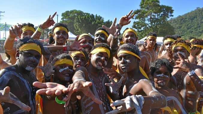 PALM ISLAND DANCERS: Young dancers celebrate after the record was broken.