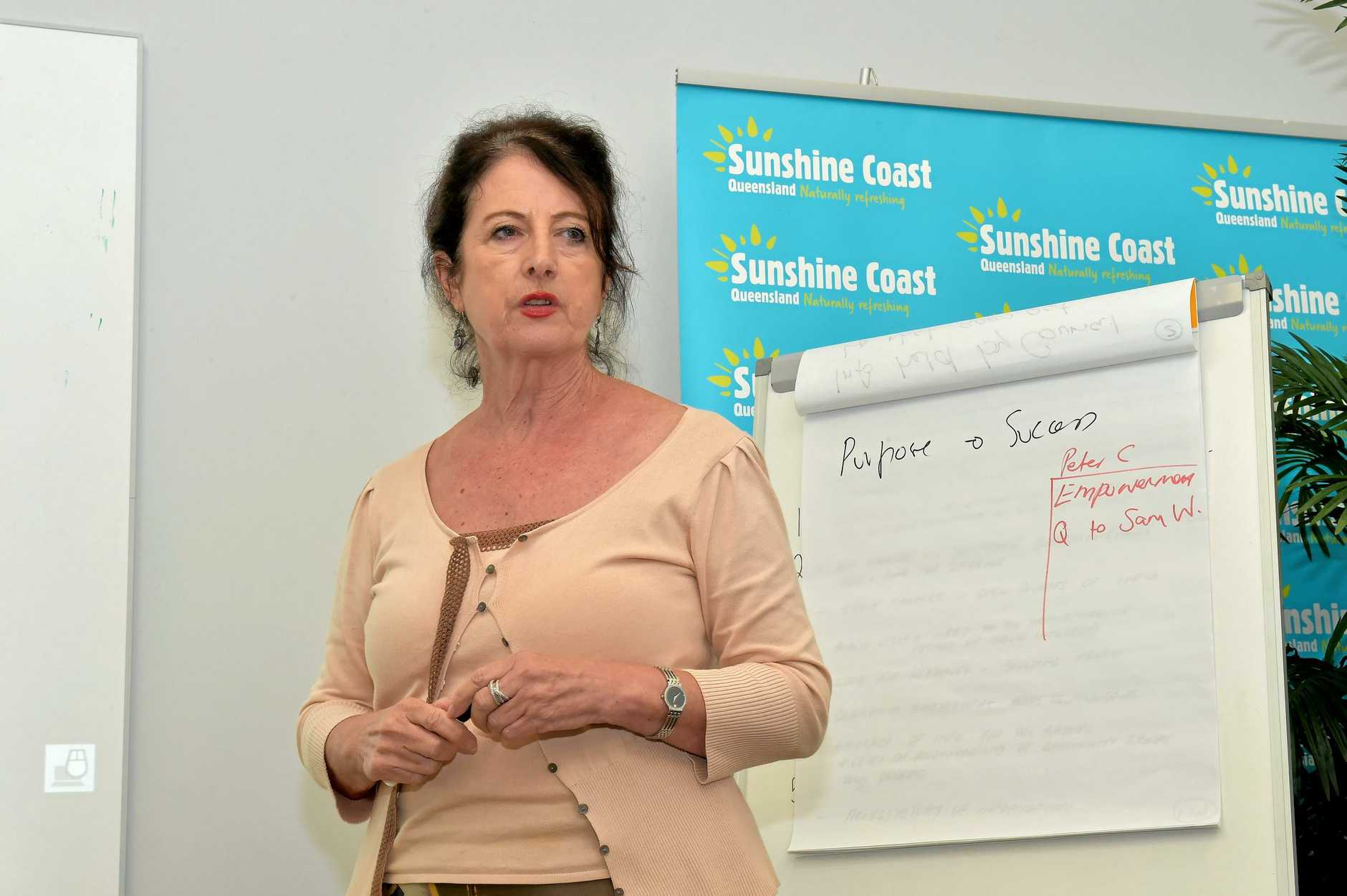 Sunshine Coast 'Think Tank' to consider role of community engagement. Sunshine Coast Business Council Chair Sandy Zubrinich speaks. Photo: Warren Lynam / Sunshine Coast Daily