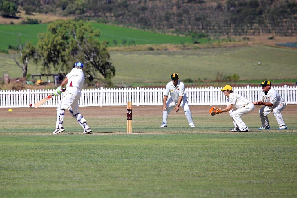 IN POSITION: Katherine Raymont plays wicket keeper for the Lockyer veterans against Toowoomba in April.