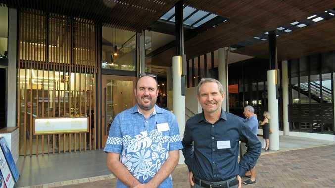 MAKOVER MAGIC: Aspire CEO David Langdon and marketing director Len Constanini outside the new building at Noosa Junction.