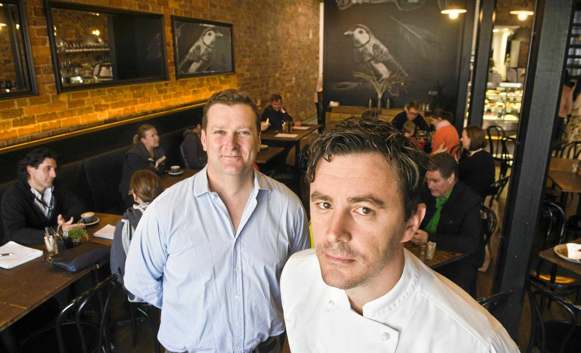OPEN FOR DINNER: The Finch owner Dan Farquhar (left) with new chef Bryan Nielsen ready for night dining.