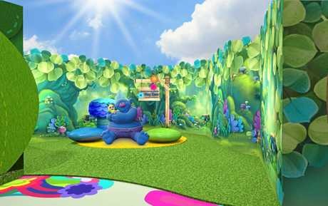 Artist impressions of Dreamworld's new Trolls Village precinct, due to open this winter.