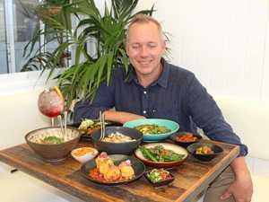 YUM: Bombay Cricketers Club manager Toby Bamford enjoying the new vegan banquet.