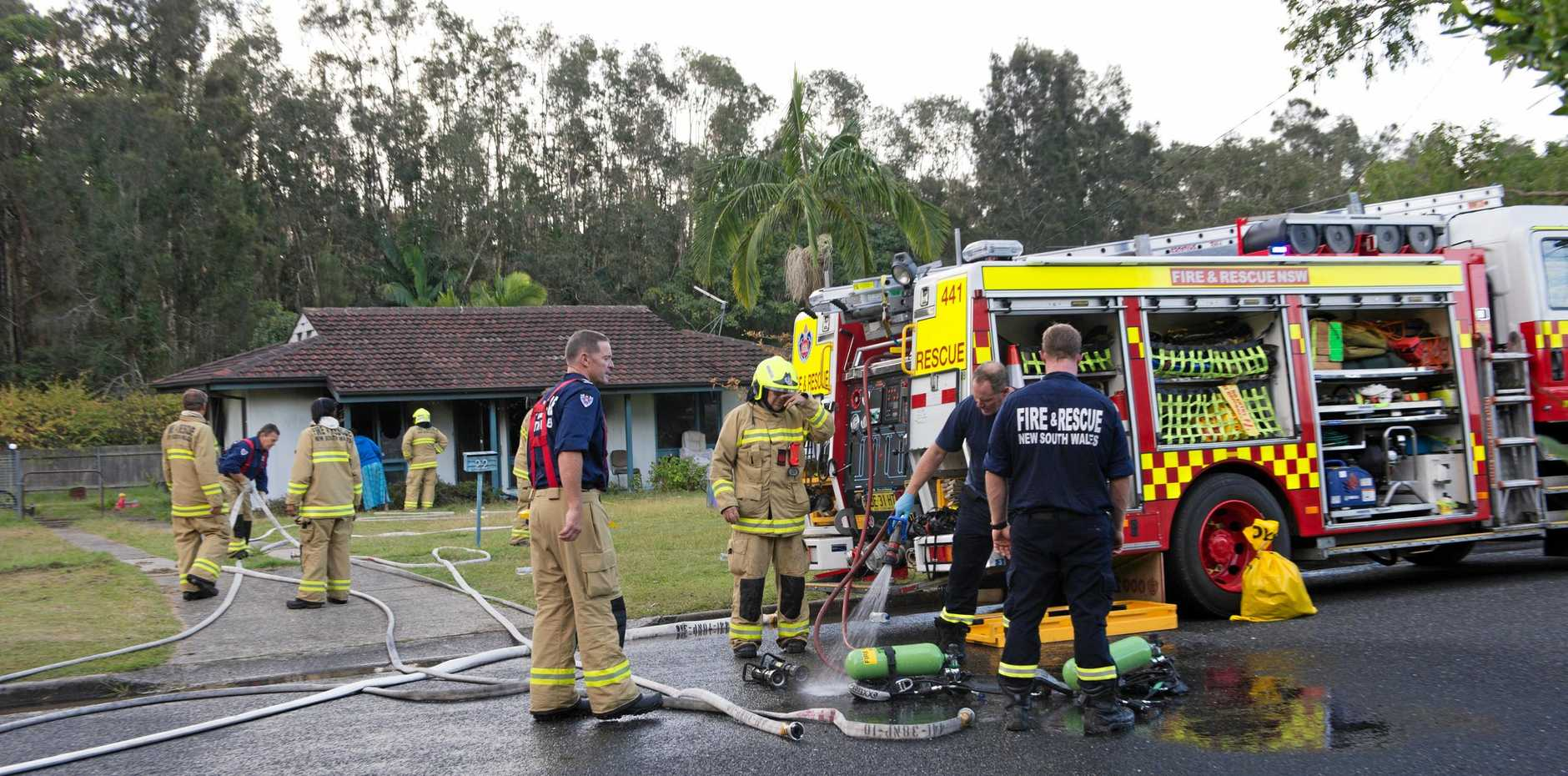 A house was destroyed by fire in Toormina's Barcoo Crt this afternoon.
