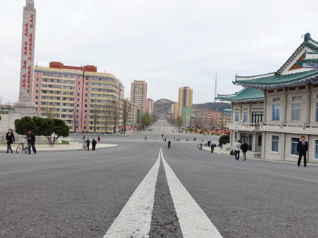A street in Kaesong, North Korea. Picture: Rachel Davey