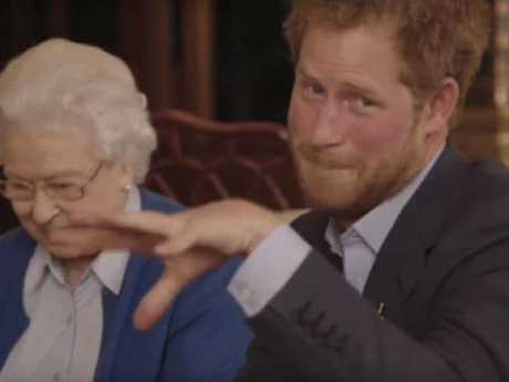 Prince Harry drops the mic in a challenge against the Obamas. Picture: YouTube