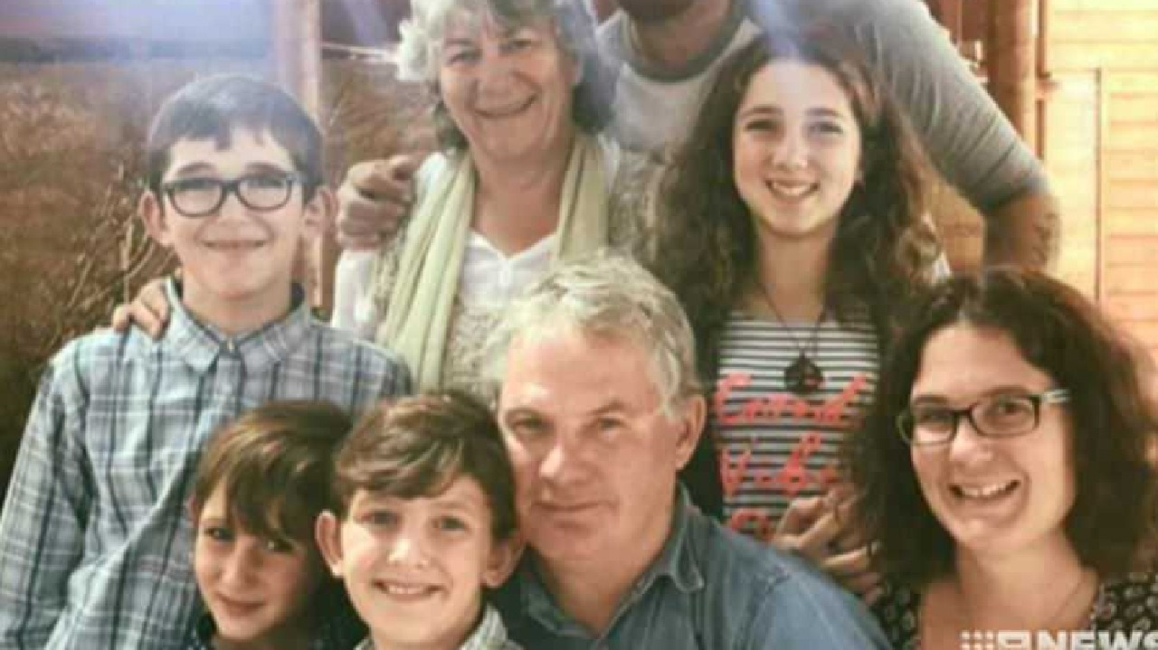 61-year-old Peter Miles (centre), with his wife Cynda Miles (back), their daughter Katrina Miles (r) and her four children. Picture: Courtesy of Nine News