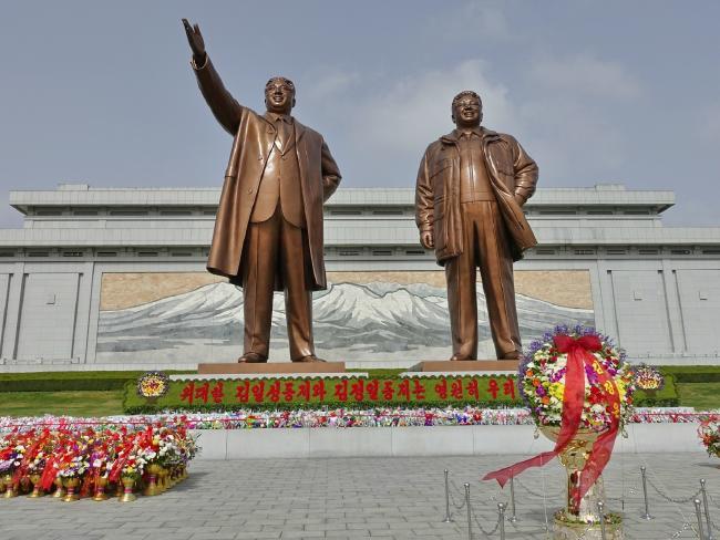 Bronze statues of North Korea's leaders. Picture: Rachel Davey