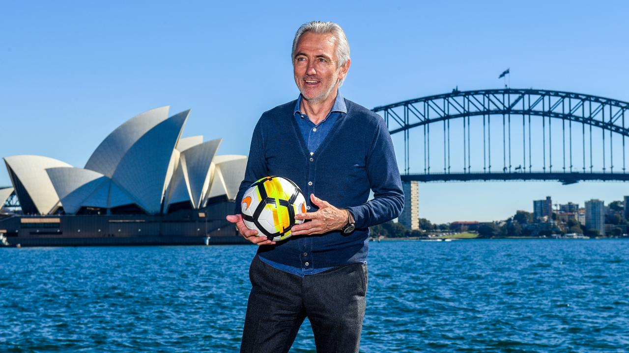 Socceroos Head Coach Bert van Marwijk poses for a photograph on Sydney Harbour.