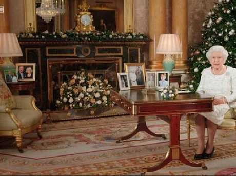 A picture of Harry and Meghan could be spotted in the background during the Queen's Christmas address. Picture: BBC