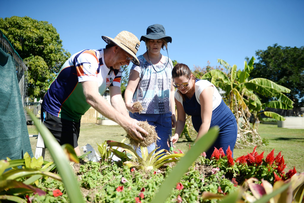 Image for sale: Neville Smith, Samantha Holman and Zoe Hinds at Wandal community garden.