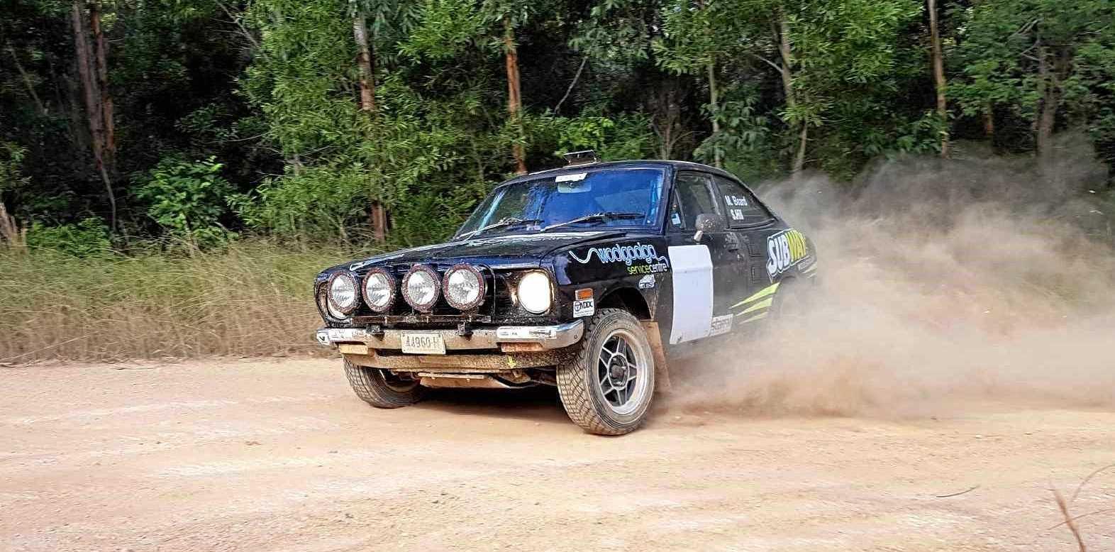 Woolgoolga rally driver Mark Beard test drives his 1973 Datsun 1200 Coupe ahead of the AGL Rally Of The Heartland.