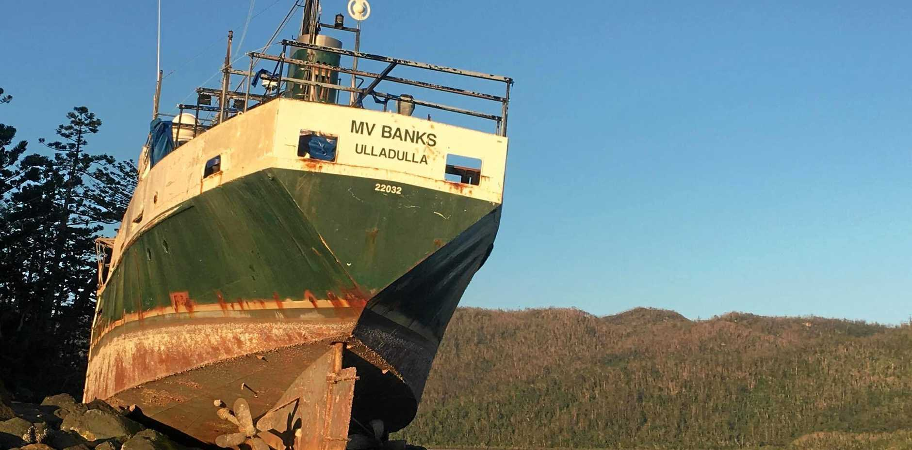 The MV Banks is still stranded at Cid Harbour after Cyclone Debbie, however tenders have been issued for its removal.