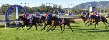 IMPRESSIVE: Macho Tycoon with Nigel Seymour in the saddle wins the 2018 Bentleys Rocky Amateurs Cup at Callaghan Park on Saturday.