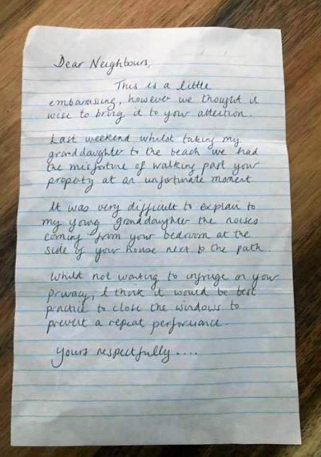 The Warana resident claimed to receive this note from a neighbour.