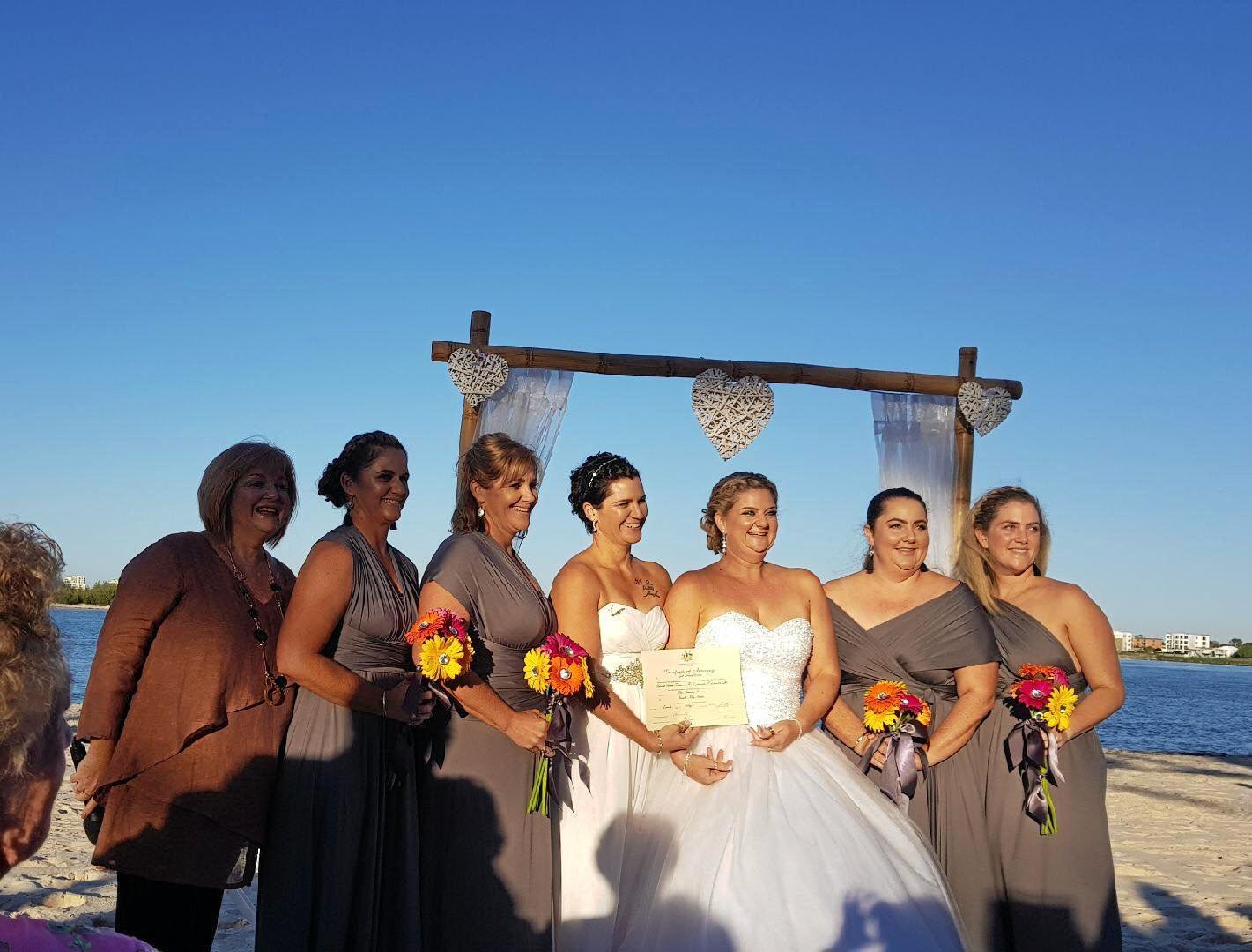 (L-R) Gail Evens (celebrant) Kim Reibel, Evonne Craven, Toni Chirio, Janelle Chirio, Penny Flanigan and Melissa Petty.