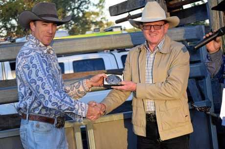 Rodeo winner Ryan Storey with main sponsor Tim Duggan at the Mundubbera show.