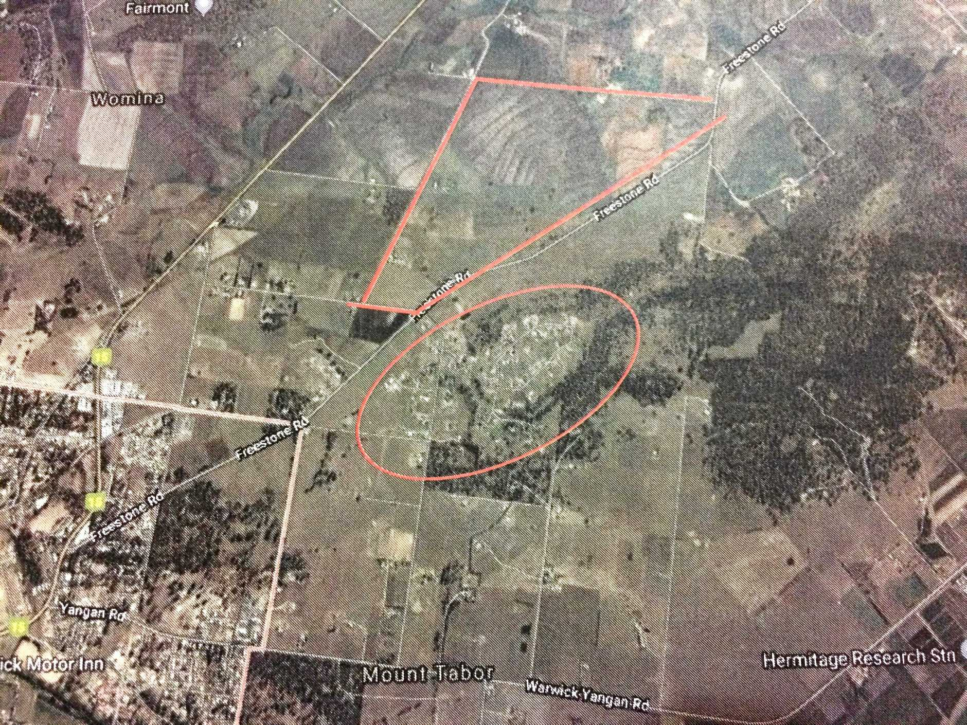 FLARING UP: Map depicting the proposed Warwick solar farm site covering 154-hectares of beautiful agricultural land in Freestone Valley. The Mt Tabor residential precinct is also circled in red.