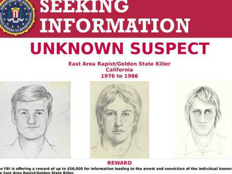 This FBI wanted poster shows drawings of a suspect known as the 'Golden State Killer'. Picture: AFP