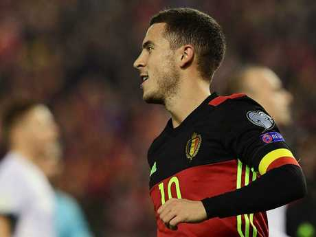 Belgium's Eden Hazard celebrates after scoring a goal during World Cup qualifying.