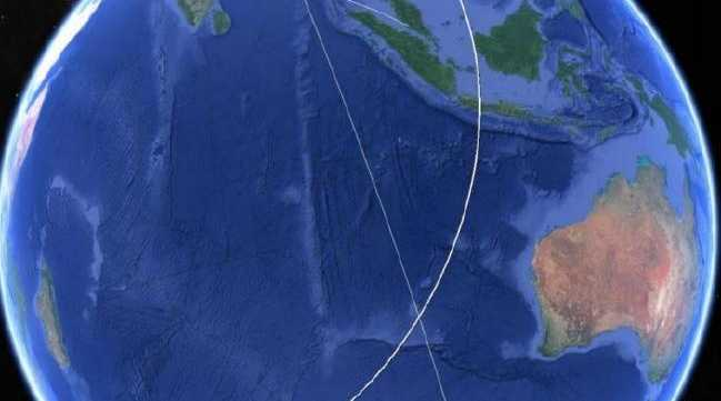 """The Operational Search for MH370, published in the Australian Transport Safety Bureau's final report, shows the """"x marks the spot"""" moment, where the final attempted satellite handshake with the airliner was recorded. Picture: Google Earth."""