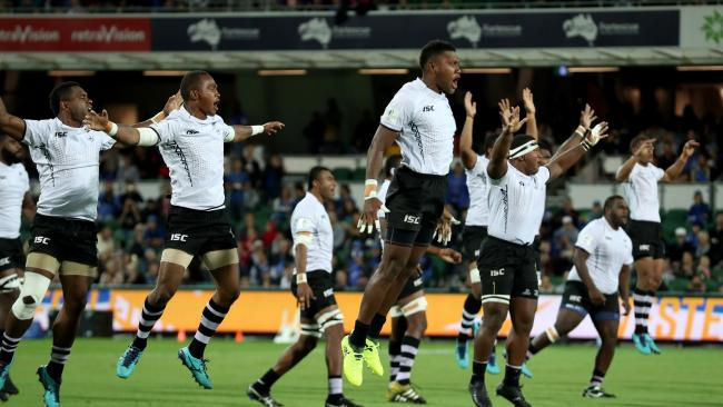 The Fiji Warriors perform the Cibi war dance before playing the Force in Perth. Picture: Richard Wainwright