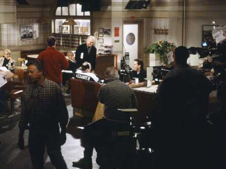 A behind-the-scenes shot from the filming of the finale back in 1998. Picture: Getty