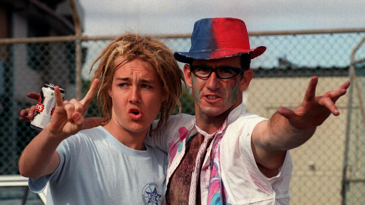 Silverchair lead singer Daniel Johns and Newcastle Knights star Andrew Johns on Mad Monday in 1997.