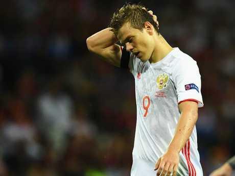 Russia's Aleksandr Kokorin reacts during the 2016 Euros.