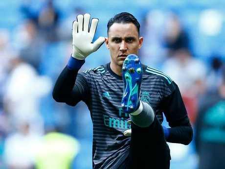 Costa Rican goalkeeper Keylor Navas warms up.