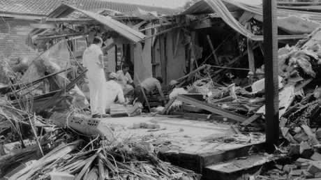 Justice Richard Gee's Belrose home after it was bombed. Picture: Manly Daily