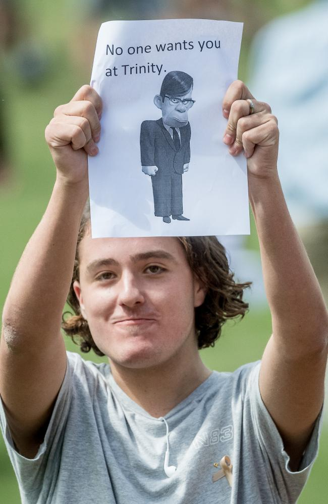 Trinity Grammar students protested over the sacking of Rohan Brown. Picture: Jake Nowakowski