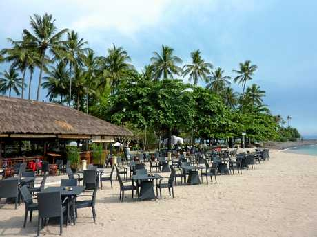 A beach bar on Senggigi Beach in Lombok.