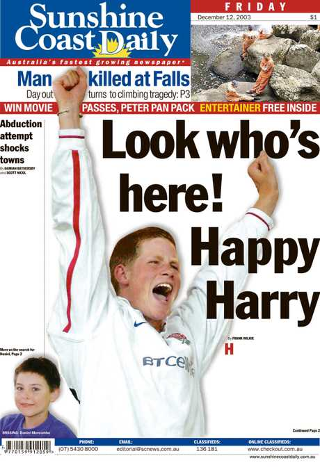 The Daily's front page when it was discovered Prince Harry was holidaying on the Coast in 2003.
