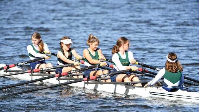 CHAMPIONS: St Luke's Anglican School's Laura Branch, Mercedes Thomas, Yvette Land and Charlotte Baldry competing in the Quad Skull at last year's Head of River. The school will defend the title again next month.