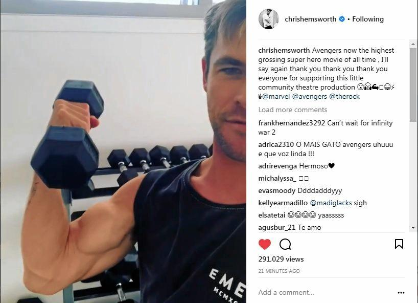 Northern Rivers resident and Hollywood actor Chris Hemsworth thanked fans via social media for the success of the latest Marvel film Avengers : Infinity War.