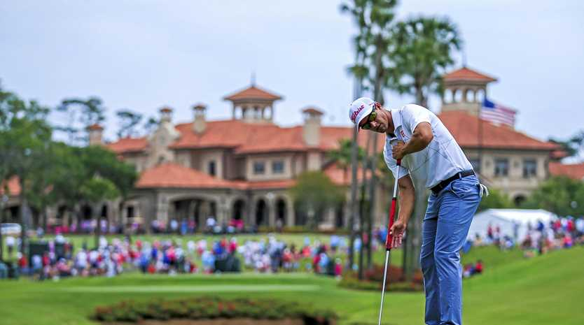 Adam Scott putts on the third green in the fourth round of The Players Championship at TPC Sawgrass on Monday (AEST).