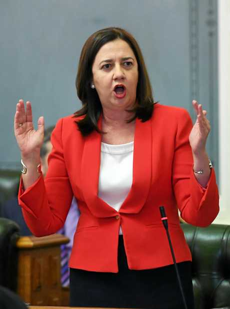 Queensland Premier Annastacia Palaszczuk speaks during Question Time at Parliament House in Brisbane, Wednesday, May 16, 2018. (AAP Image/Dan Peled) NO ARCHIVING