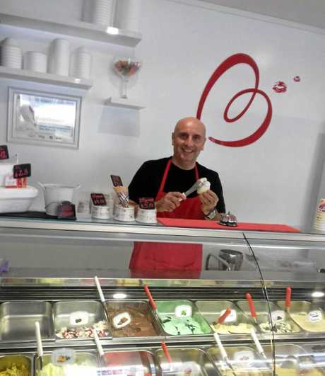 Edina's husband Cesare Cellie at their family business, Baci Gelati Caffe.